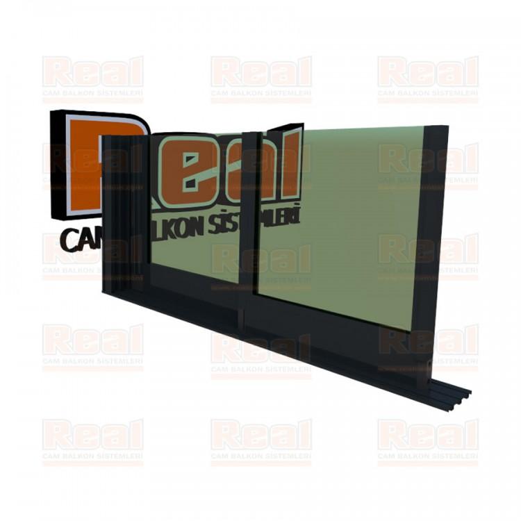 R3 Sürme Seri Eşiksiz Isıcamlı Yeşil Cam Antrasit Gri Profil - Yeşil Cam