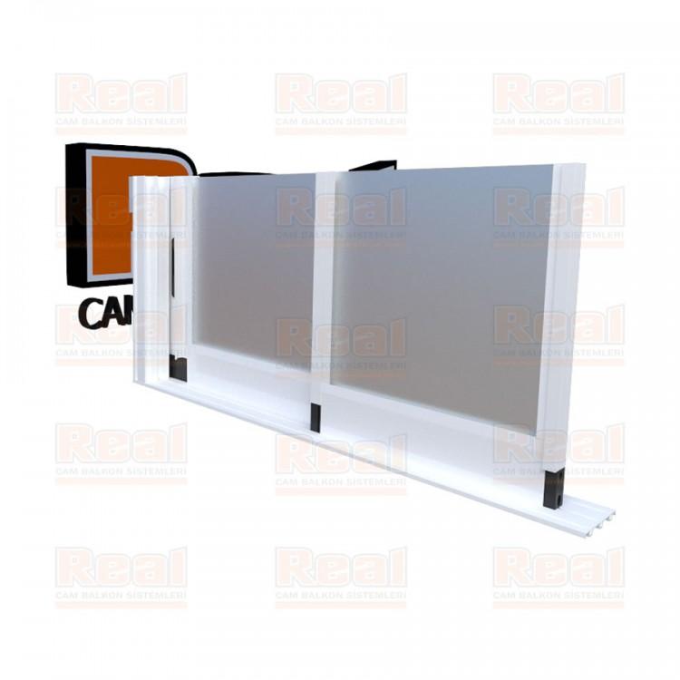 R3 Sürme Seri Eşiksiz Isıcamlı Satine Cam Beyaz Profil - Satine Cam