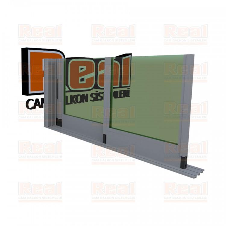 R3 Sürme Seri Eşiksiz Isıcamlı Yeşil Cam Mat Eloksal Profil - Yeşil Cam