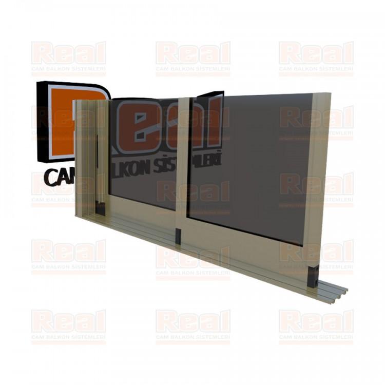 R3 Sürme Seri Eşiksiz Isıcamlı Füme Cam Bronz Profil - Füme Cam