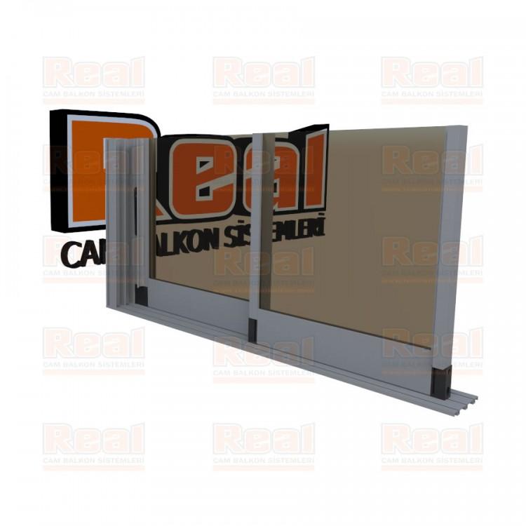 R3 Sürme Seri 8 mm Eşiksiz Bronz Cam Mat Eloksal Profil - Bronz Cam