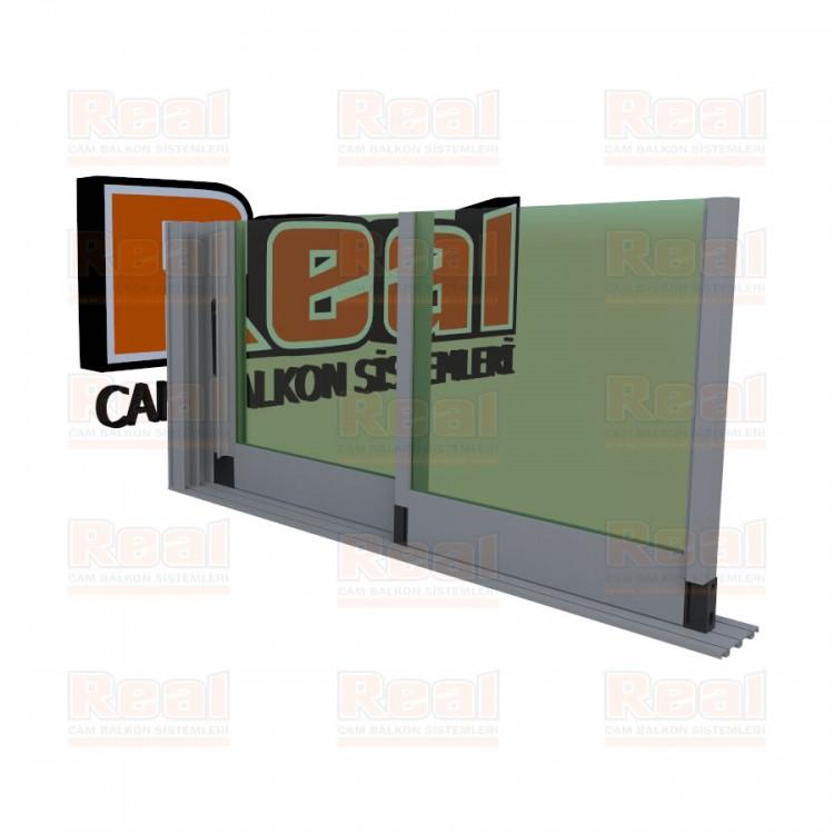 R3 Sürme Seri 8 mm Eşiksiz Yeşil Cam Mat Eloksal Profil - Yeşil Cam