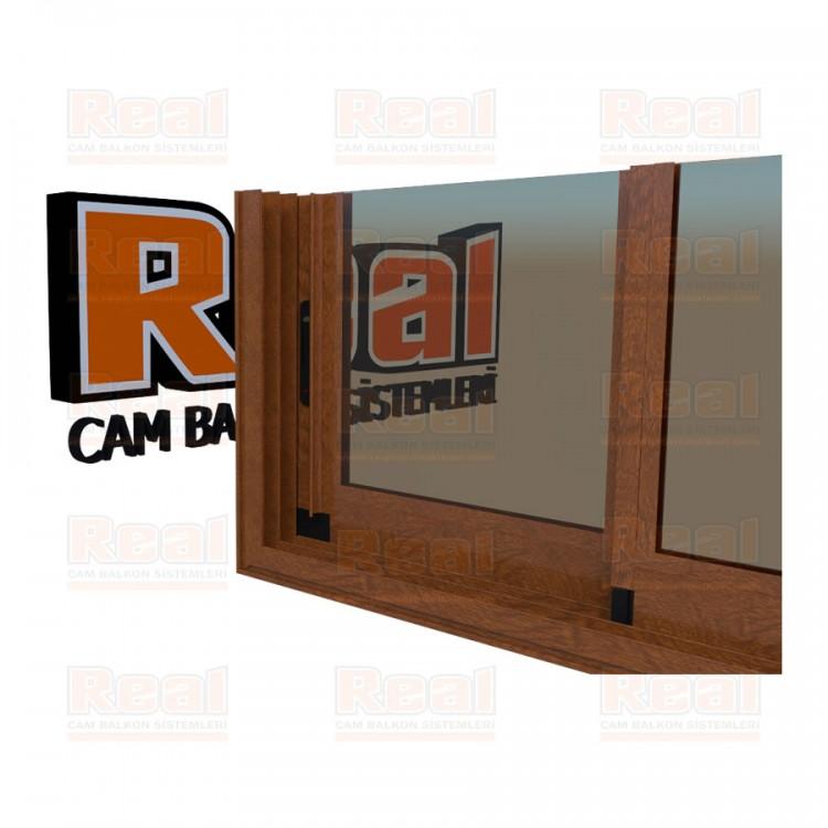 R3 Sürme Seri Eşikli Isıcamlı Bronz Cam Ahşap Altınmeşe Profil