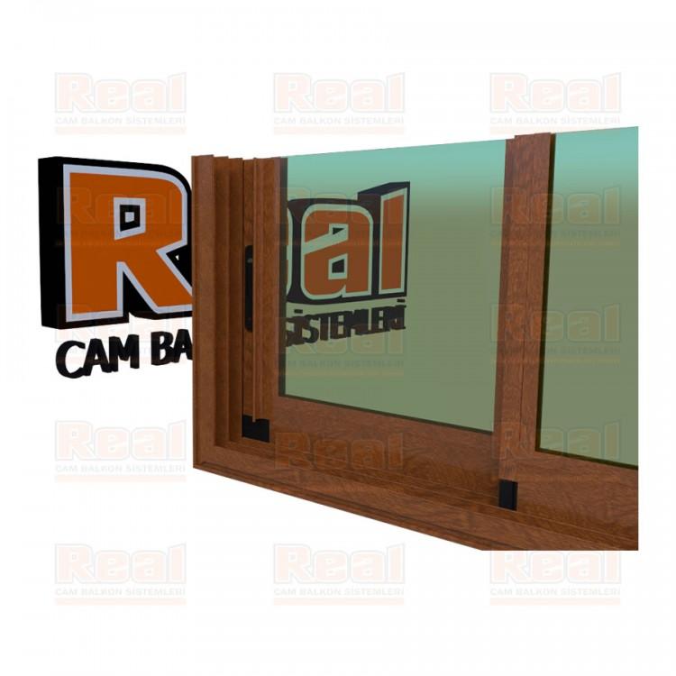 R3 Sürme Seri Eşikli Isıcamlı Yeşil Cam Ahşap Altınmeşe Profil - Yeşil Cam