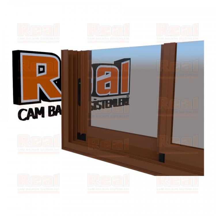 R3 Sürme Seri Eşikli Isıcamlı Şeffaf Cam Altınmeşe Profil - Şeffaf Cam