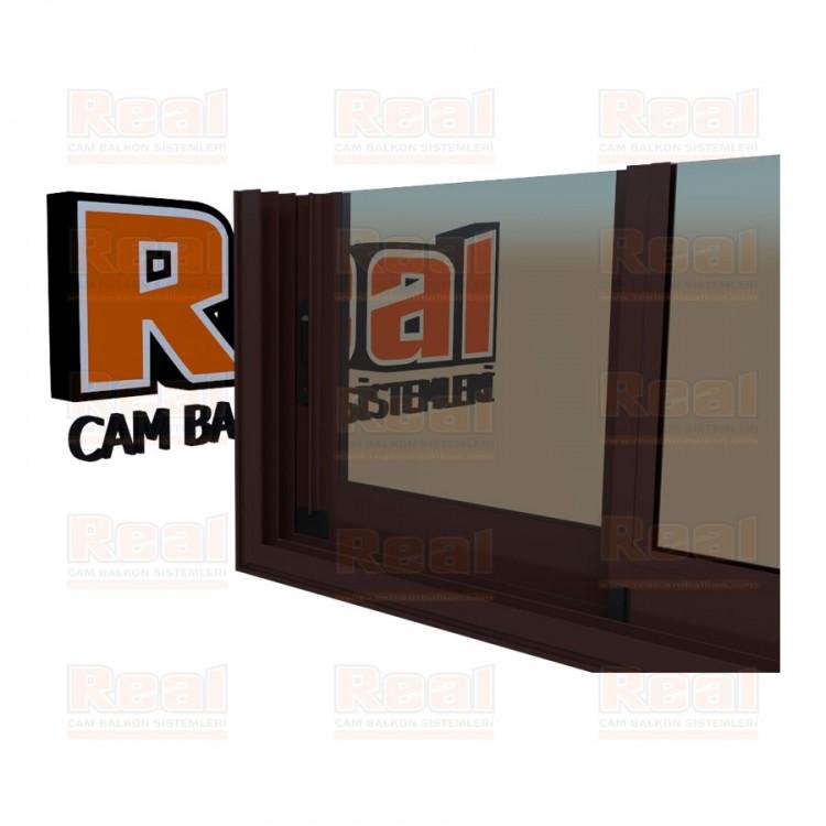 R3 Sürme Seri Eşikli Isıcamlı Bronz Cam Maun Profil - Bronz Cam