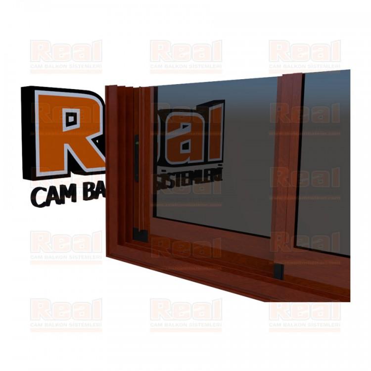 R3 Sürme Seri Eşikli Isıcamlı Füme Cam Ahşap Fındık Profil - Füme Cam