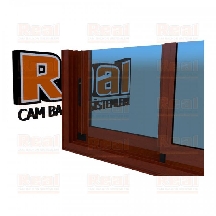 R3 Sürme Seri Eşikli Isıcamlı Mavi Cam Ahşap Fındık Profil - Mavi Cam