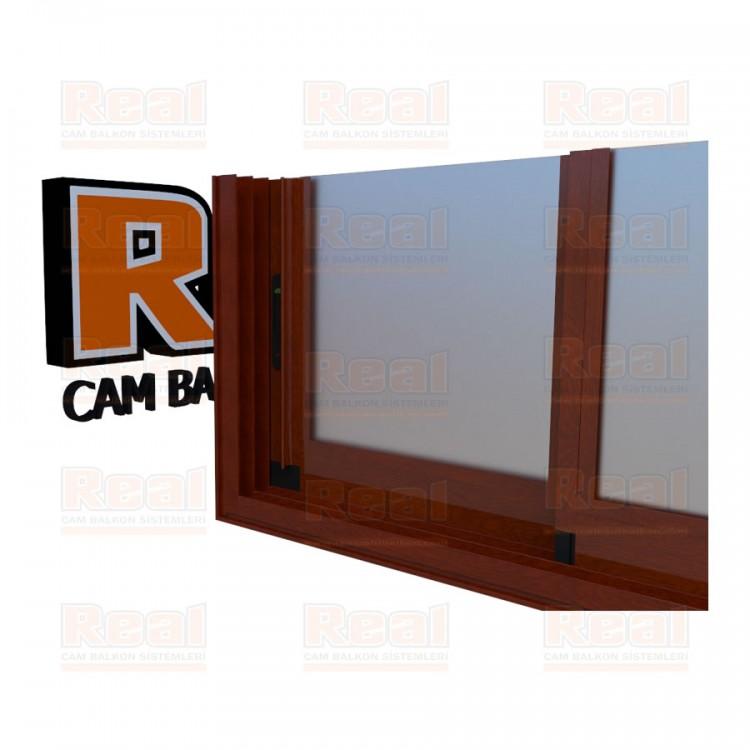 R3 Sürme Seri Eşikli Isıcamlı Satine Cam Ahşap Fındık Profil - Satine Cam