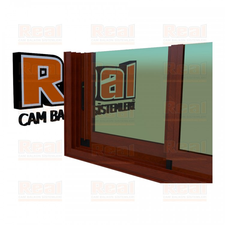 R3 Sürme Seri Eşikli Isıcamlı Yeşil Cam Ahşap Fındık Profil - Yeşil Cam