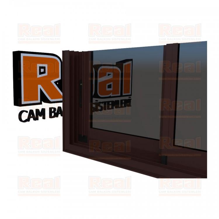 R3 Sürme Seri Eşikli Isıcamlı Füme Cam Maun Profil - Füme Cam