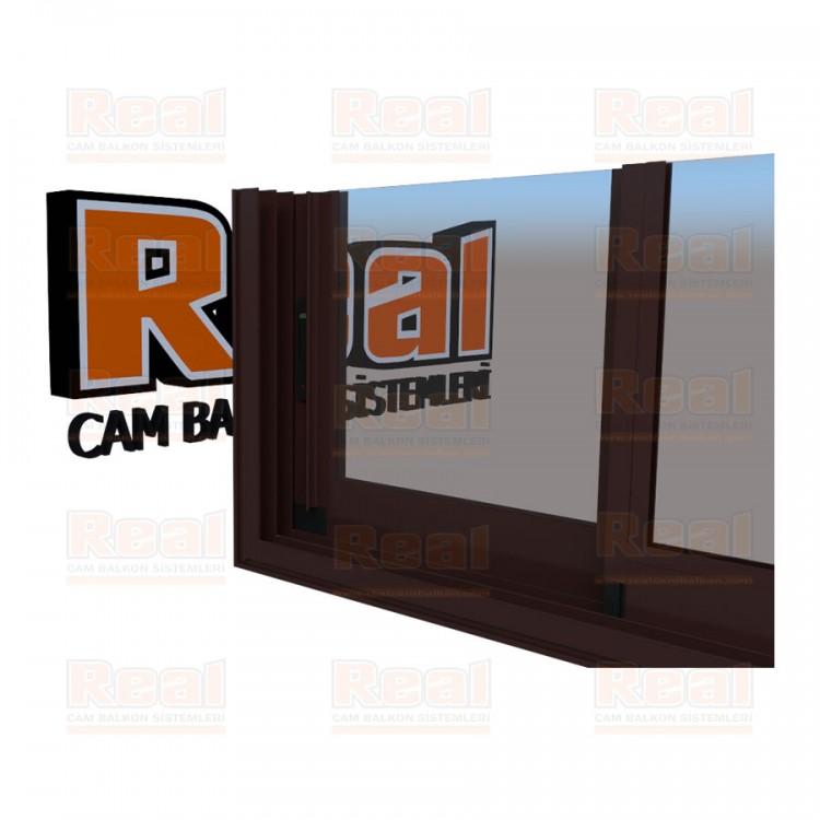 R3 Sürme Seri Eşikli Isıcamlı Şeffaf Cam Maun Profil - Şeffaf Cam