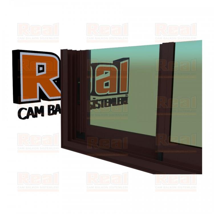 R3 Sürme Seri Eşikli Isıcamlı Yeşil Cam Maun Profil - Yeşil Cam