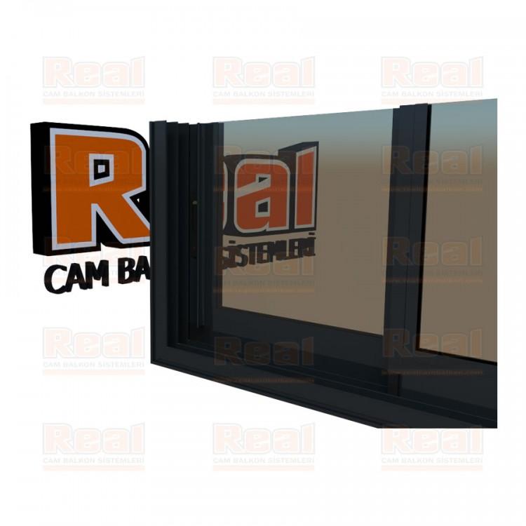 R3 Sürme Seri Eşikli Isıcamlı Bronz Cam Antrasit Gri Profil - Bronz Cam