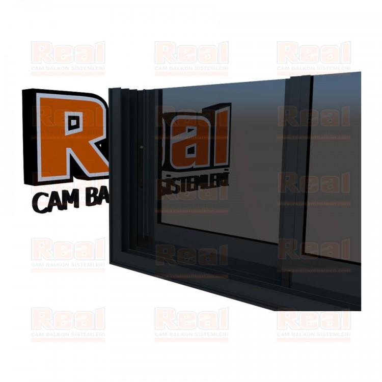 R3 Sürme Seri Eşikli Isıcamlı Füme Cam Antrasit Gri Profil - Füme Cam
