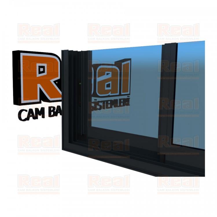 R3 Sürme Seri Eşikli Isıcamlı Mavi Cam Antrasit Gri Profil - Mavi Cam