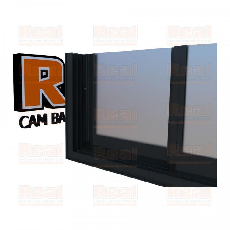R3 Sürme Seri Eşikli Isıcamlı Satine Cam Antrasit Gri Profil - Satine Cam
