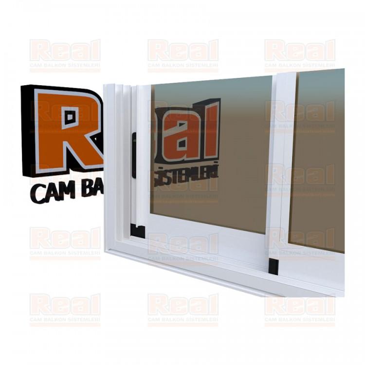 R3 Sürme Seri Eşikli Isıcamlı Bronz Cam Beyaz Profil - Bronz Cam