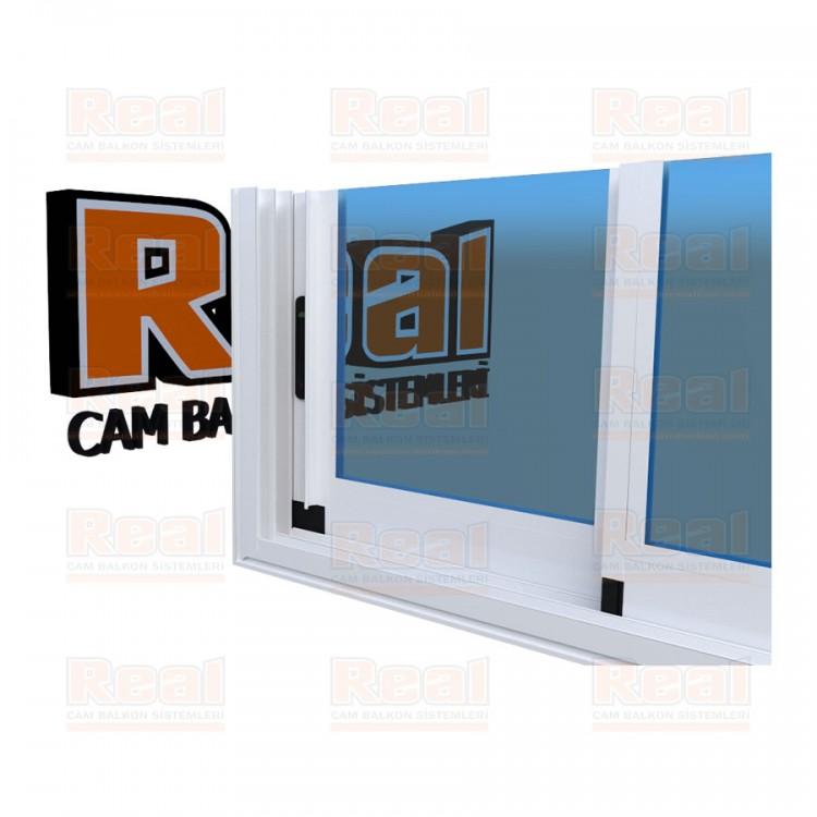 R3 Sürme Seri Eşikli Isıcamlı Mavi Cam Beyaz Profil - Mavi Cam