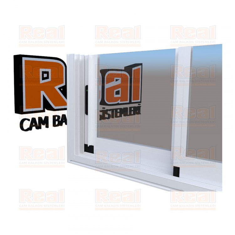 R3 Sürme Seri Eşikli Isıcamlı Şeffaf Cam Beyaz Profil - Şeffaf Cam