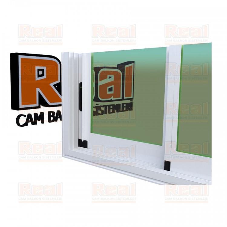 R3 Sürme Seri Eşikli Isıcamlı Yeşil Cam Beyaz Profil - Yeşil Cam