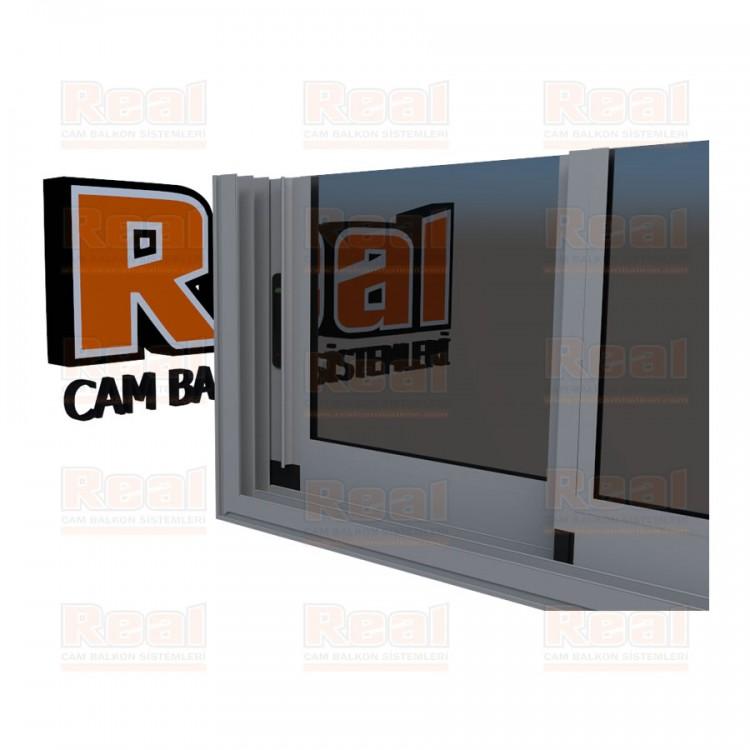 R3 Sürme Seri Eşikli Isıcamlı Füme Cam Mat Eloksal Profil - Füme Cam