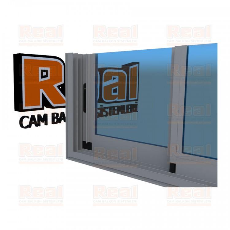 R3 Sürme Seri Eşikli Isıcamlı Mavi Cam Mat Eloksal Profil - Mavi Cam