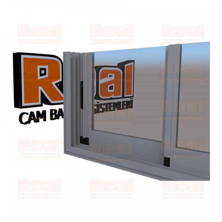 R3 Sürme Seri Eşikli Isıcamlı Şeffaf Cam Mat Eloksal Profil - Şeffaf Cam