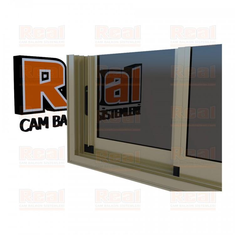R3 Sürme Seri Eşikli Isıcamlı Füme Cam Bronz Profil - Füme Cam